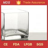 Vaas van het Glas van de goede Kwaliteit de Goedkope Vierkante Duidelijke voor de Decoratie van het Huis