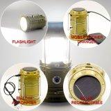 Lanterna de acampamento solar recarregável do diodo emissor de luz