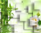 TVの背景のための緑のタケ白いLotuデザイン3D装飾の絵画
