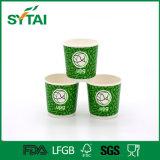 Copo de chá dobro verde descartável impresso logotipo do papel de parede