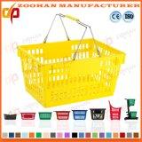 Panier à provisions en plastique de supermarché des prix de traitement bon marché de double (Zhb117)