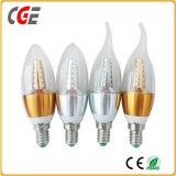 Zukünftige LED-Kerze-Licht-Kerze-Birne mit Goldaluminiumgehäuse