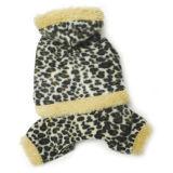 Vêtements faits sur commande de crabot d'animal familier avec de l'ouatine de léopard