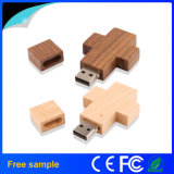 De houten Zeer belangrijke PromotieGift van de Aandrijving van de Flits USB van de Ketting Dwars