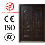 Acero exterior de la seguridad de la capa del polvo de la hoja de la puerta doble