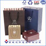O presente de papel luxuoso personalizado ensaca por atacado, impressão do saco de papel com punho do algodão