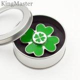 Giradores pintados verde da mão do trevo dos giradores 4-Leaf da inquietação do zinco do metal