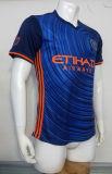Niza fútbol negro rayado azul al por mayor de calidad superior Jersey