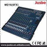 Het 16-kanaal van MD16/6fx met 48V De spook AudioMixer van de Levering van de Macht