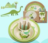 BPA libèrent le jeu de dîner en bambou normal de gosses de fibre