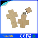 Cadeau promotionnel de chaîne principale de lecteur flash USB en bois de croix