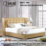 水晶が付いている上の本革のベッドおよび現代家具の卸し業者Fb3071のための純木フレーム