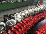 Pn16 todo válvula de borboleta operada da bolacha da caixa de engrenagens do aço inoxidável