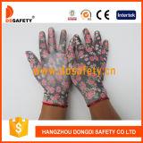 Ddsafety 2017 13 Anzeigeinstrument-rote Blumen-Entwurfs-Polyester-Zwischenlage weiße PU-überzogene Handschuhe