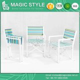 Falz-Stuhl mit buntem Gewebe für den im Freienriemen, der Stuhl-den bunten speisenden Stuhl-im Freien speisenden gesetzten Garten speist Stuhl (MAGISCHE, speist ART)
