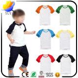 T-shirt puro da cor do algodão customizável das crianças