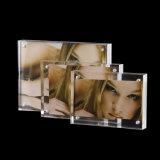 Marco doble de acrílico cristalino, marco de la foto del imán
