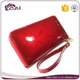 Portefeuille van de Vrouwen van het Leer van het nieuwe Product de Rode Lange Echte met de Riem van de Pols, de Beurs van de Portefeuille van het Leer van Vrouwen