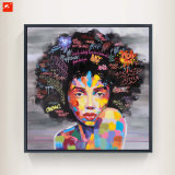 Peinture à l'huile moderne de verticale de femmes de couleur de bruit sur l'impression de toile