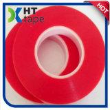 Double bande adhésive acrylique rouge latérale de polyester de film de polyester d'espace libre de doublure