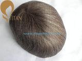 Toupee dos homens da qualidade superior de preço de fábrica com cabelo cinzento