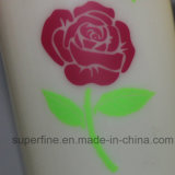 Rose Flower Printed Battery Energy Pilar artificial vela LED para o casamento