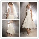 Приспособленное Bateau 2017 платье венчания краткости шнурка шкафута (Dream-100067)