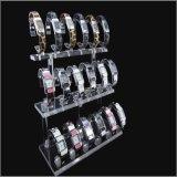 Soporte de visualización de acrílico negro o claro para el brazalete de la joyería, relojes. Capacidad 18, grada 3