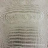 Кожа крокодила Faux PVC персика серебряная