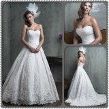 最もよい品質のストラップレスのアイボリーの白いレース浜のウェディングドレス(夢100025)