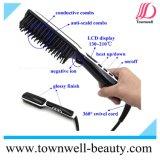 Escova do Straightener do cabelo do LCD com função iónica