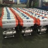Kugelventil des pneumatischer Stellzylinder-Edelstahl-2PC mit Begrenzungsschalter und Magnetventil