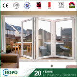Дверь складчатости удара урагана PVC нутряная двойная стеклянная для патио