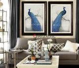 ハンドメイドの現代壁に取り付けられた孔雀のキャンバスの油絵