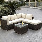 庭のテラスの余暇の椅子の家具の藤のベンチのアルミニウム喫茶店のソファーセット