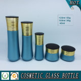 Azul de color cosméticos botella de la bomba de loción de vidrio y cosméticos de lujo jarra