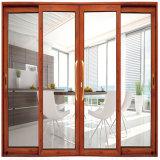 Porte coulissante en verre de bâti de Guangzhou de lame matérielle en aluminium de double avec les abat-jour horizontaux