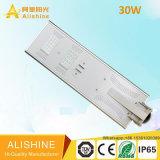 LiFePO4 luz de calle elegante solar integrada de la batería LED toda en una oscuridad al amanecer