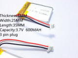 Batterij 3.7 V, 600mAh 602535 062535 van het Lithium van het polymeer