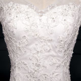 Vestidos de casamento longos da sereia de Tulle Sleeeve do laço do vintage (TM-MS029)