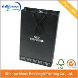 Estampando el bolso de compras de plata del negro de la insignia (QYZ064)