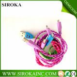 con Ce RoHS aprobó la tela cable colorido tejido del USB del micr3ofono de la carga de la sinc. para el teléfono celular
