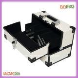 Случай набора красотки PU легкой чистой белизны кожаный поверхностный алюминиевый (SACMC008)