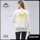 De vlinder vormde de Lange Sweater van de Laag van de Koker Witte voor Mindere