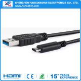 黒いUSB 3.0 AMのコンバーターデータ充電器ケーブルへのUSB3.1タイプC