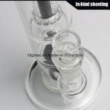 Стеклянная чернота миниое Stemless 18mm Cirq двойное Perc Glassworks куря трубы Manifest
