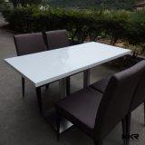 Petite première table ronde dinante de marbre en pierre blanche