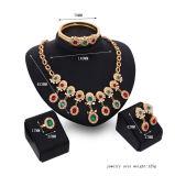 Bijou d'or nuptiale africain de diamant de collier de boucle d'oreille de bracelet de la boucle 4 de mode réglée colorée de PCS