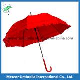 Rotes Steuerknüppel-Blumen-Spitze-Vorstand-Automobil-geöffneter Dame-Regenschirm