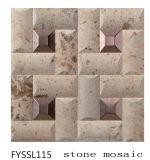 Color amarillento de mosaico de piedra natural para la televisión de la pared Fondo (FYSSL115)